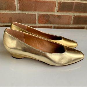 Naturalizer gold yellow color block heel pump